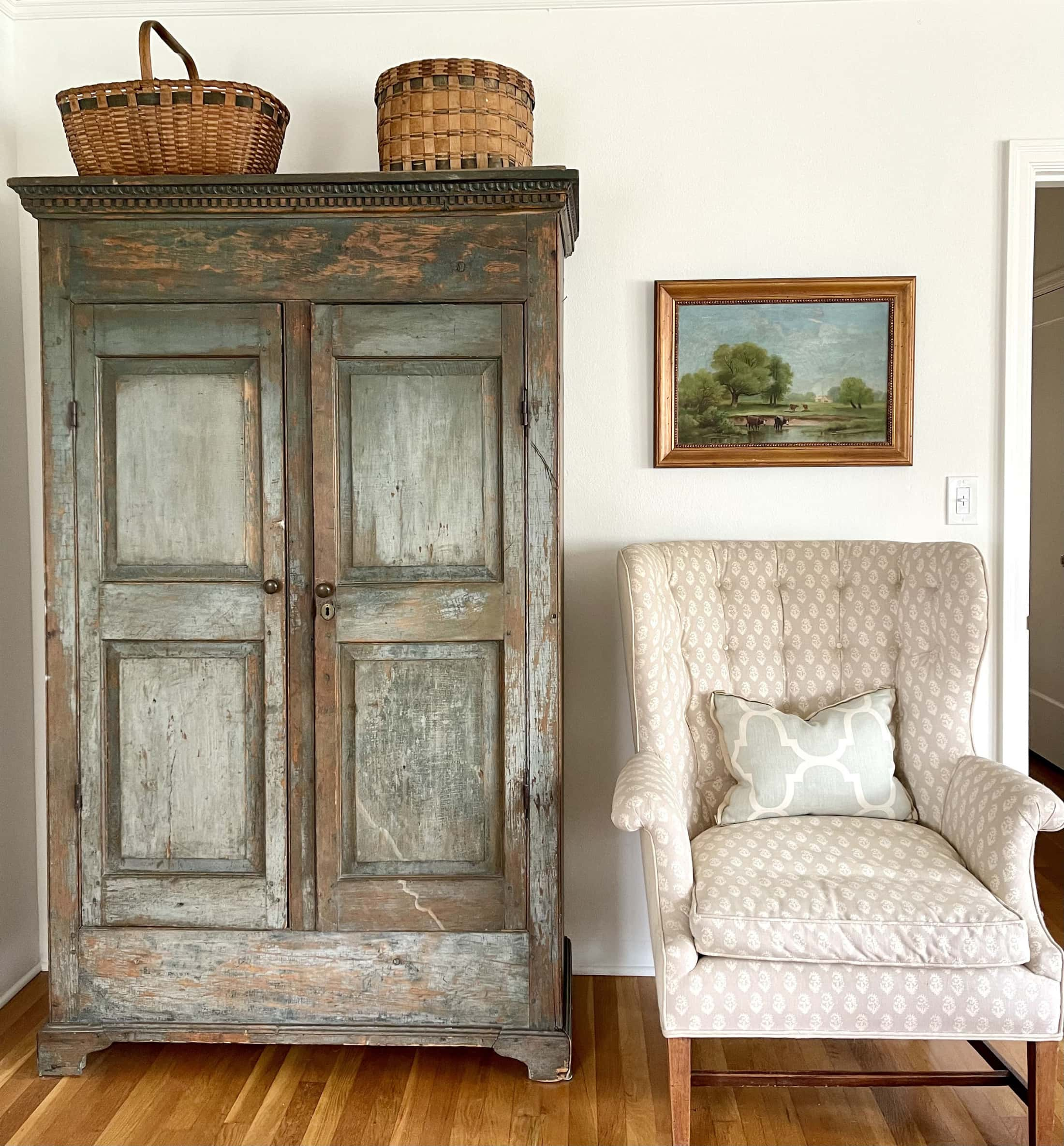 cindy hattersley's primary bedroom with antique kas