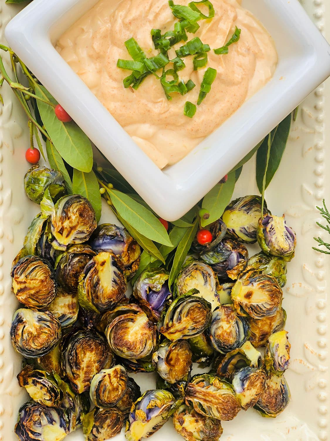 grilled brussel sprouts with chipotle aioli