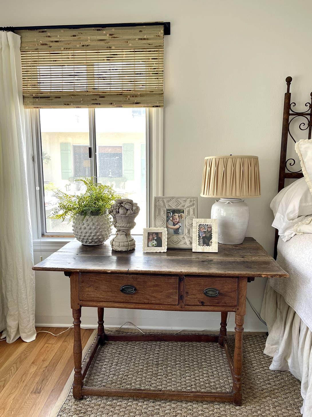 cindy hattersley's bedside table in her fixer upper bedroom