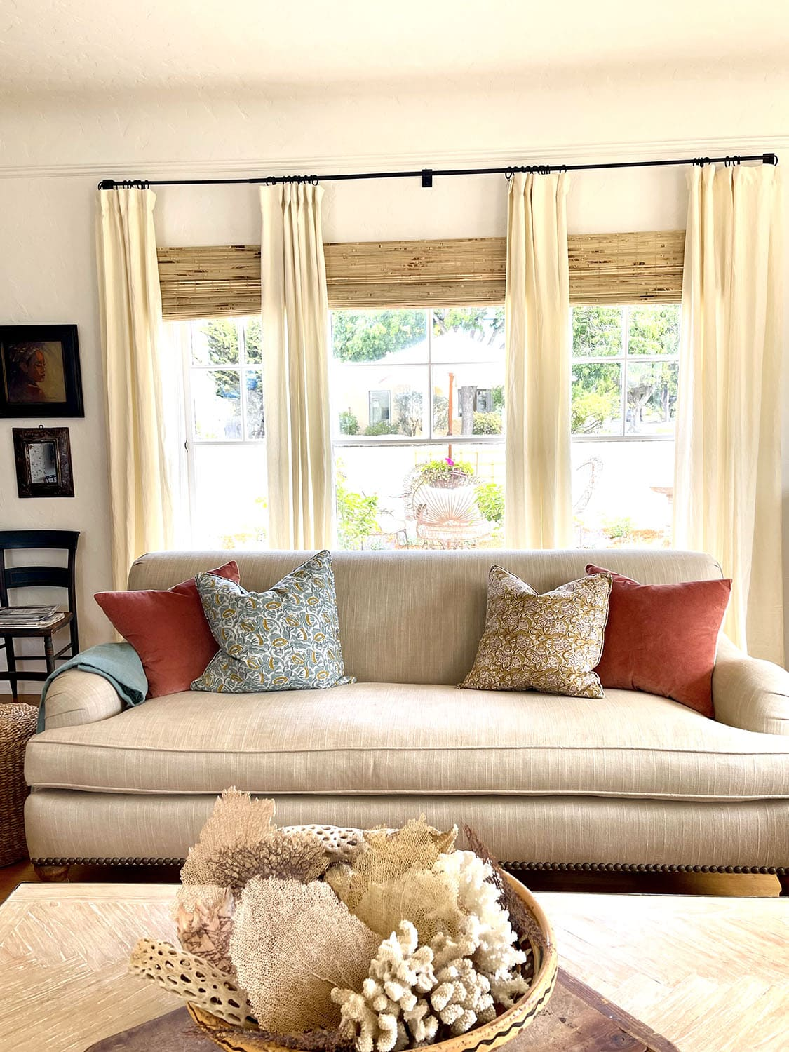 cindy hattersley's living room looking out onto courtyard