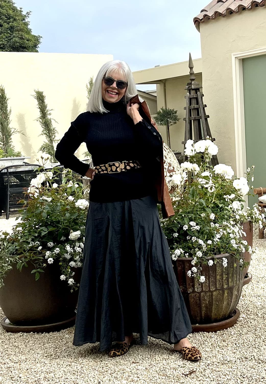 cindy hattersley in cp shades skirt, anthro turtleneck