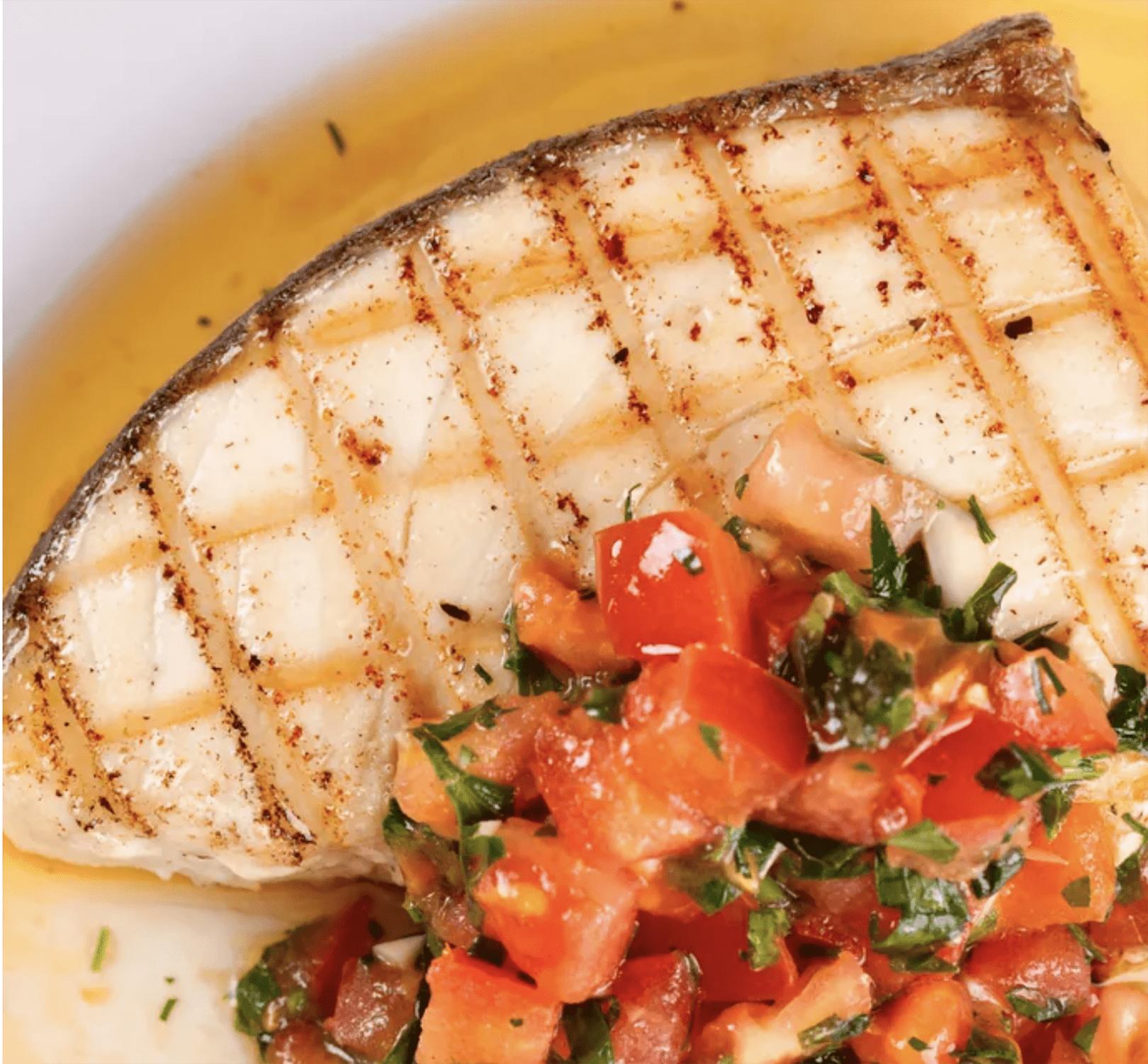 grilled halibut with lemon basil viniagrette