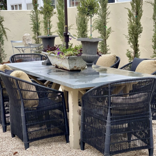 cindy hattersley's outdoor table with World Market Chairs