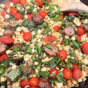sausage, corn, basil and tomato pasta