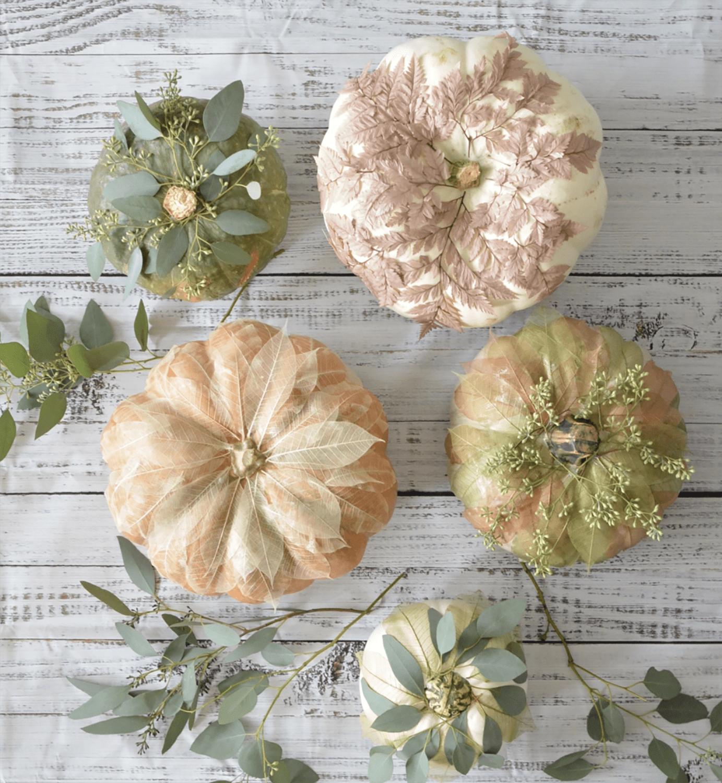 DIY Pumpkins-CENTSATIONAL STYLE LEAF EMBELLISHED PUMPKINS