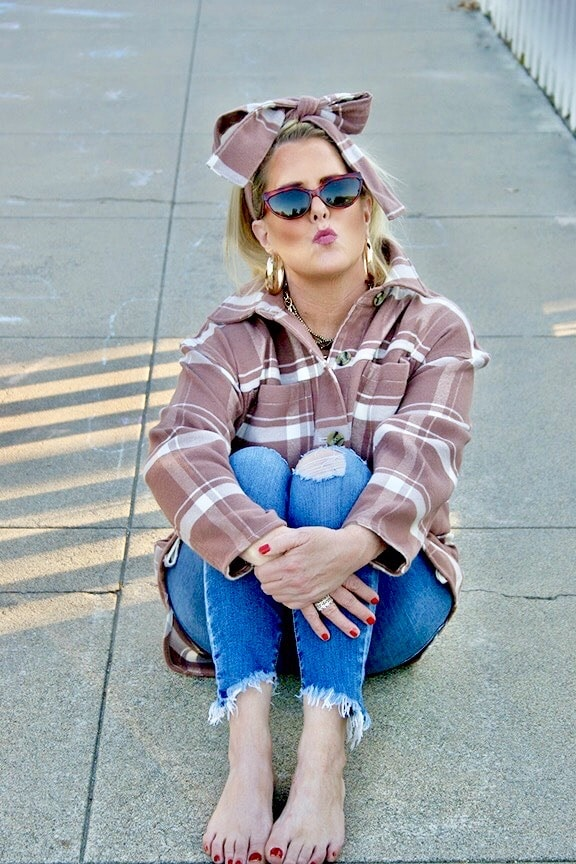 AGELESS STYLE KELLY GRACE SWIFT with Patsy sunglasses and Rite Aid Hoops and Rings