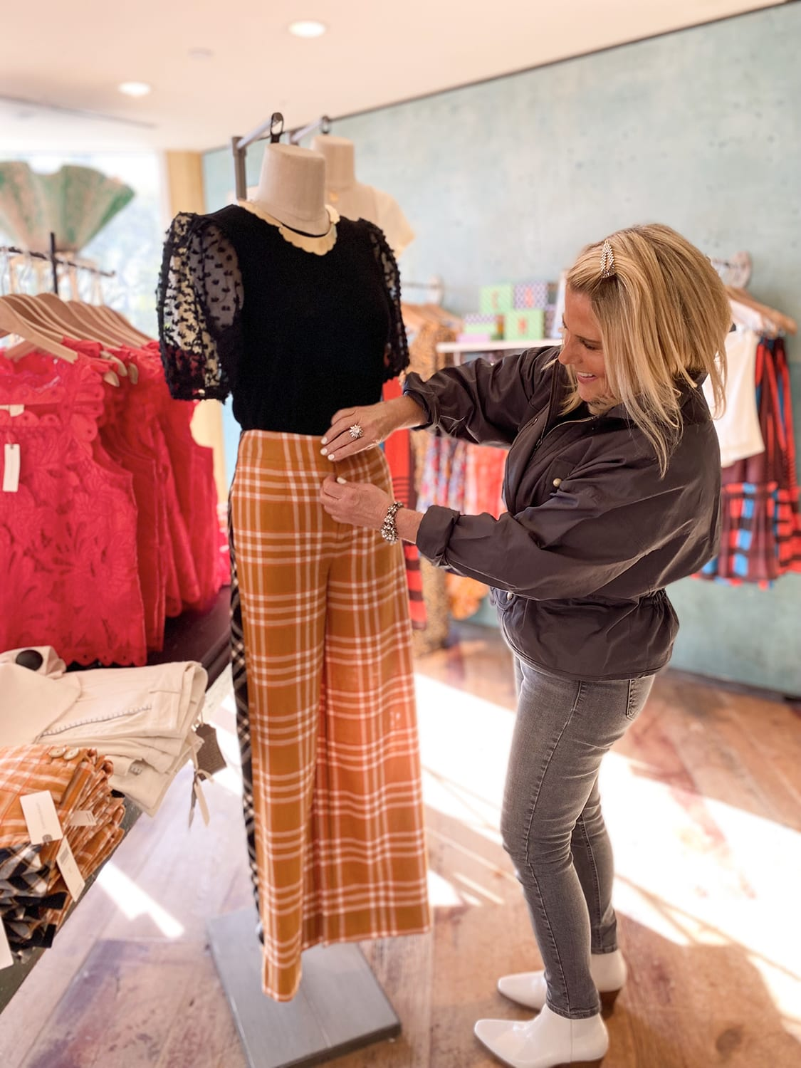 Kelly working at Anthropologie