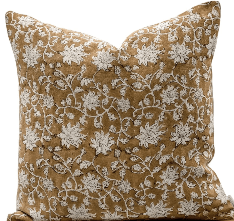 brown floral block print pillow from Krinto