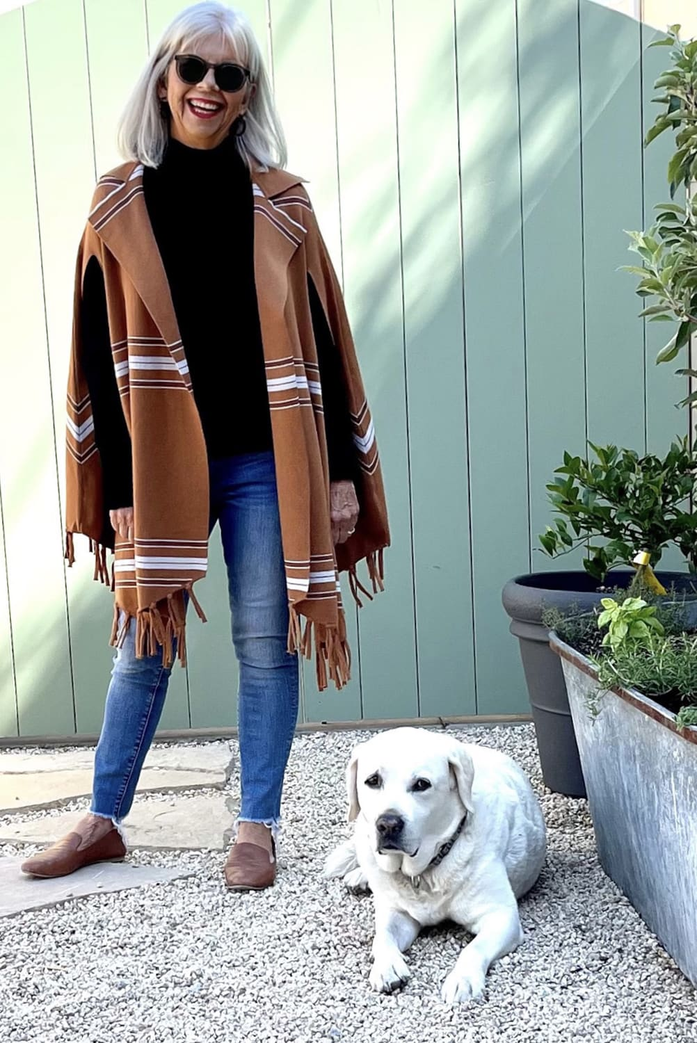 cindy hattersley in anthro poncho with Beau