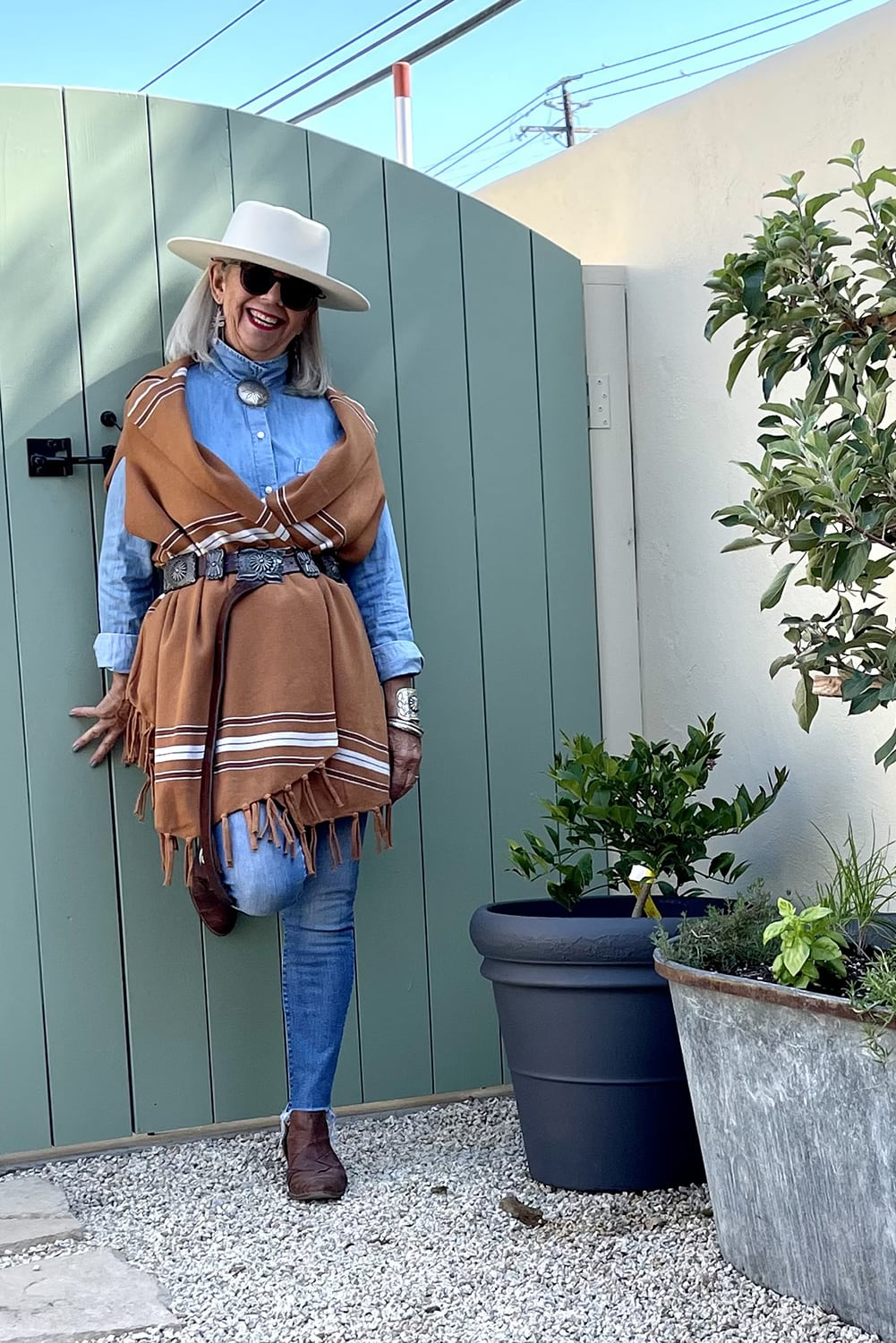cindy hattersley in anthro poncho