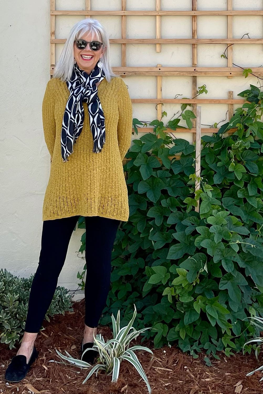 cindy hattersley in double looped scarf