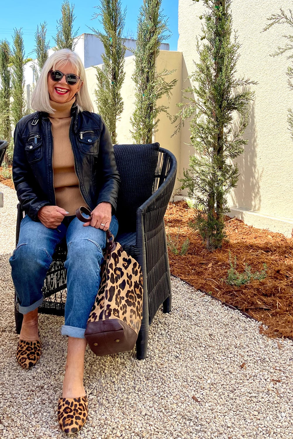 cindy hattersley in pilcro jeans and moto jacket