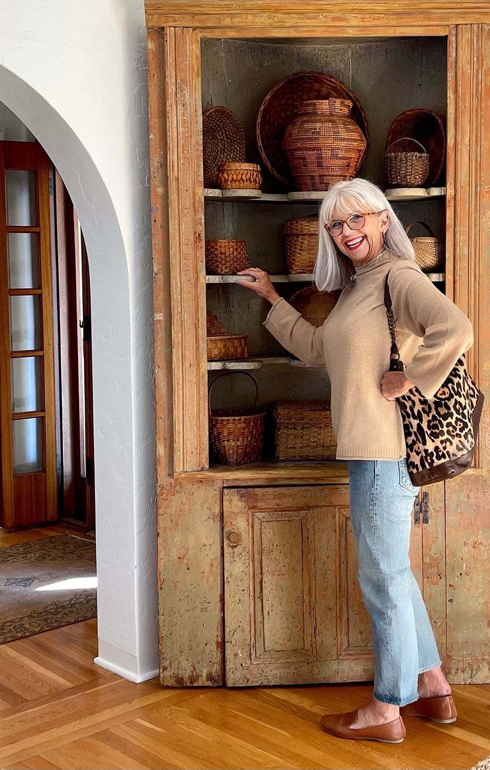 cindy hattersley in J Crew Jeans and Sweater