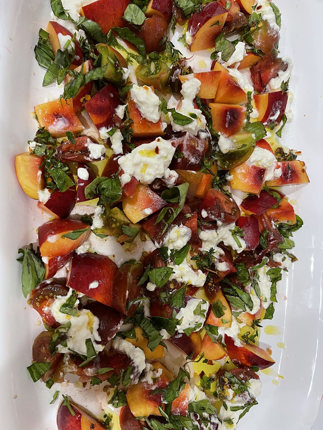 TOMATO AND PEACH SALAD from two peas and their pod