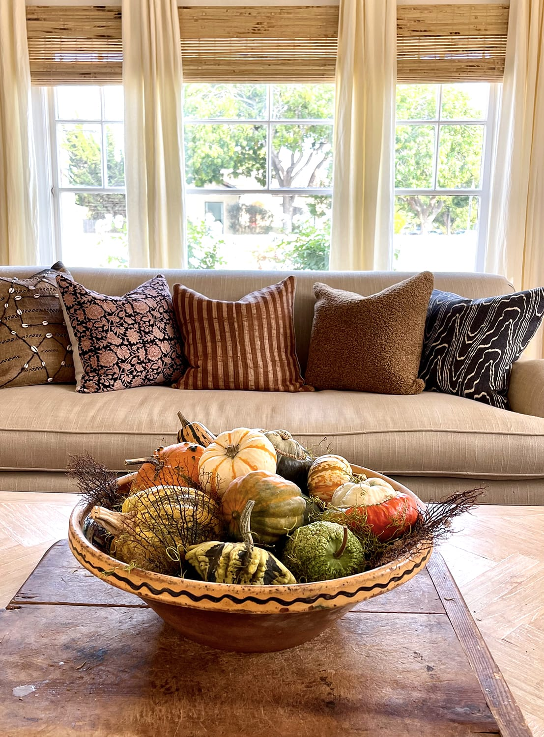 living room sofa with pillows