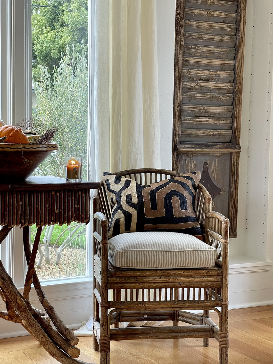 twig table and chinoiserre chair